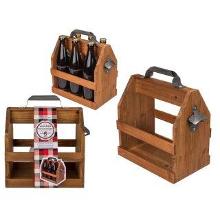 Holz Flaschenhalter Flaschenträger für 6 Flaschen a 0,5 l mit Metall Flaschenöffner