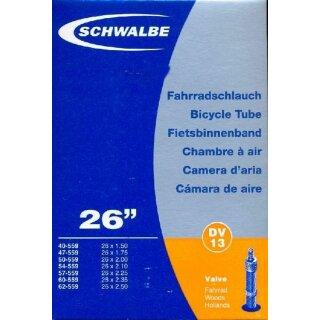 """DV13 SCHWALBE Fahrradschlauch 26"""" MTB mit Blitzventil"""